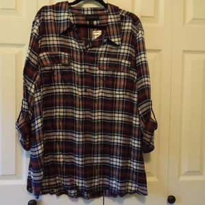 Burgundy and Navy plaid flannel top